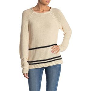Magaschoni Knit Stripe Sweater Medium Cream Black